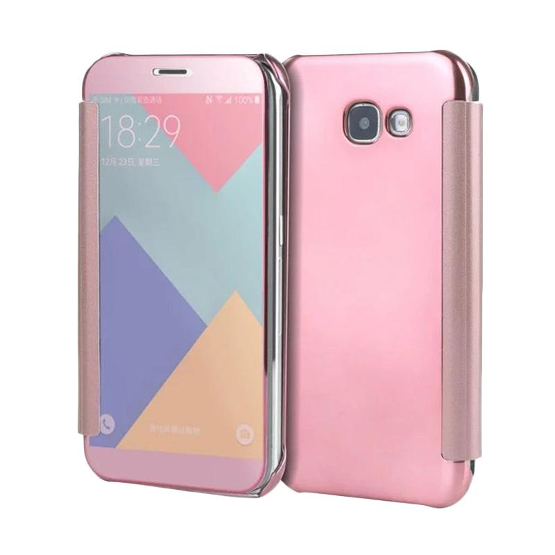 jual samsung clear view flip cover casing for samsung galaxy a3 2017 a320 rose gold online. Black Bedroom Furniture Sets. Home Design Ideas