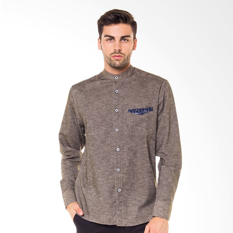 17SEVEN Original Longshirt Luv Kemeja Pria - Grey