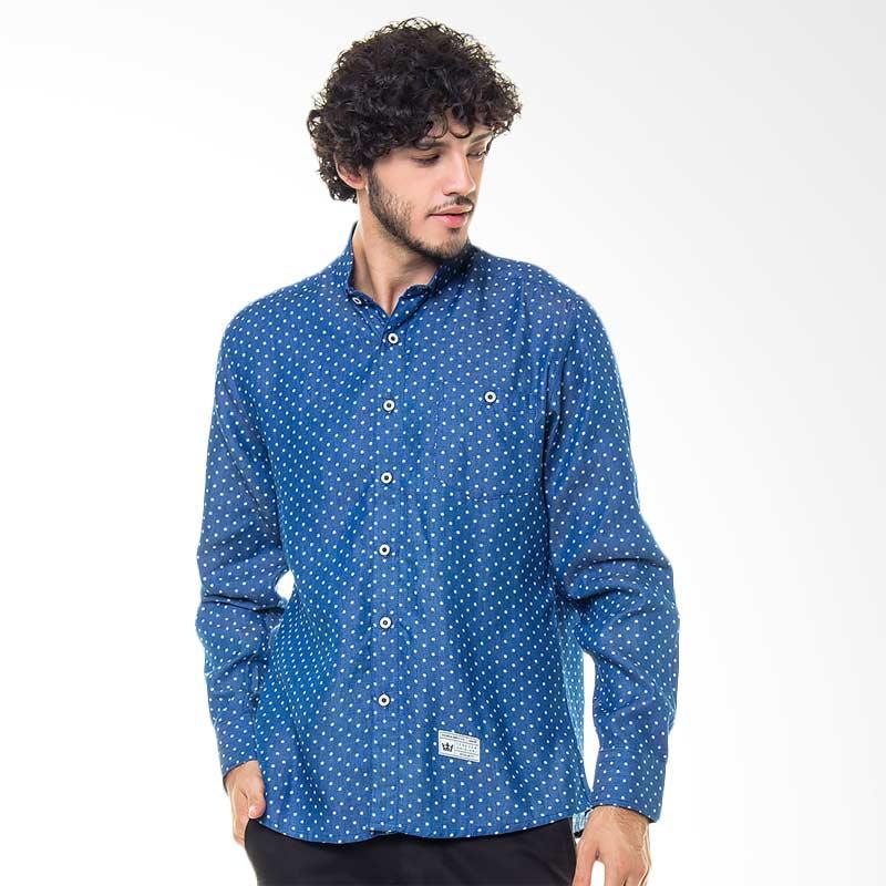 17SEVEN Original Longshirt Polka Kemeja Pria -  Blue