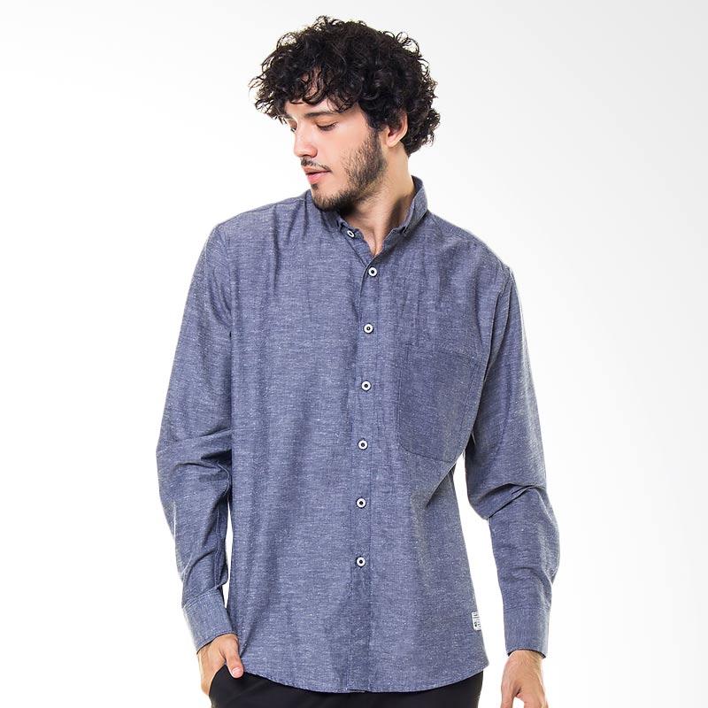 17SEVEN Original Longshirt Radiance Kemeja Pria - Blue Denim