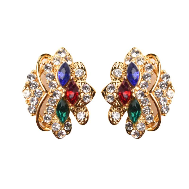 1901 Jewelry Flower Studs Earrings GW.2204.HR39 Anting - Gold