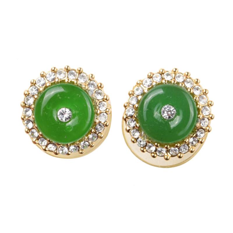 1901 Jewelry GW.2641.HR44 Green Studs Anting [Lapis Emas]