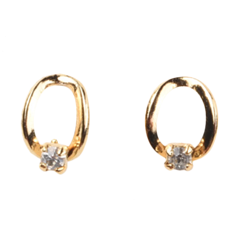 1901 Jewelry GW.532.HR23 Anting Oval Studs 532 [Lapis Emas 24k]
