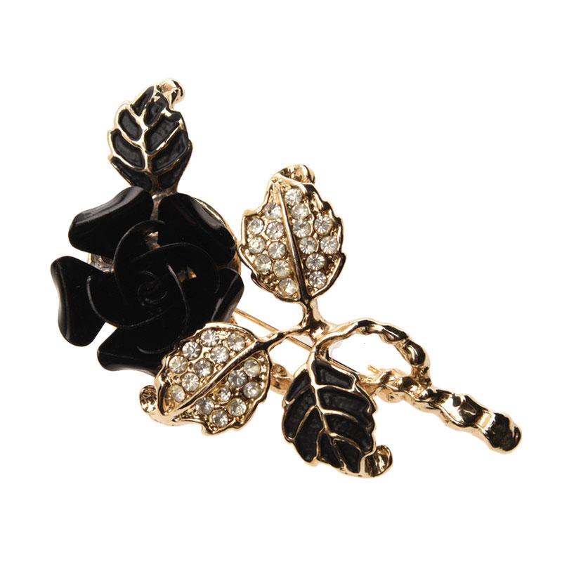 1901 Black Flower 2219 BR.2219 Brooch Wanita