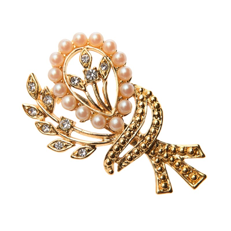 1901 Jewelry Pearl 1944 BR.1944.HR48 Brooch Wanita
