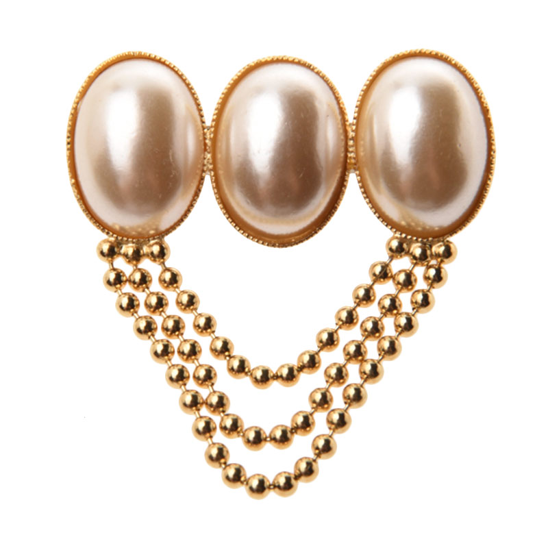 1901 Jewelry Three Oval BR.2070.HR42 Pearl Brooch