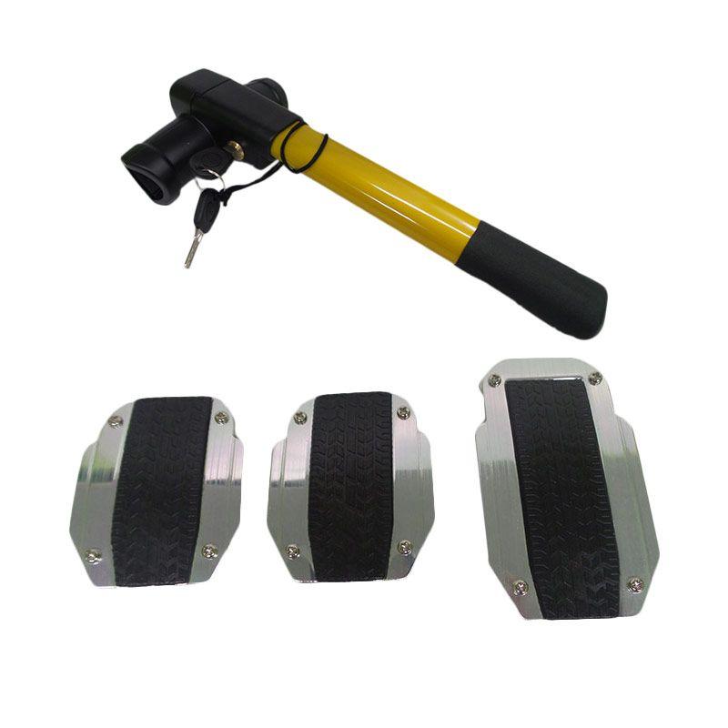 1Price Paket Combo 57 [Manual Pedal Pad B71224A + Steering Wheel Lock F50006]