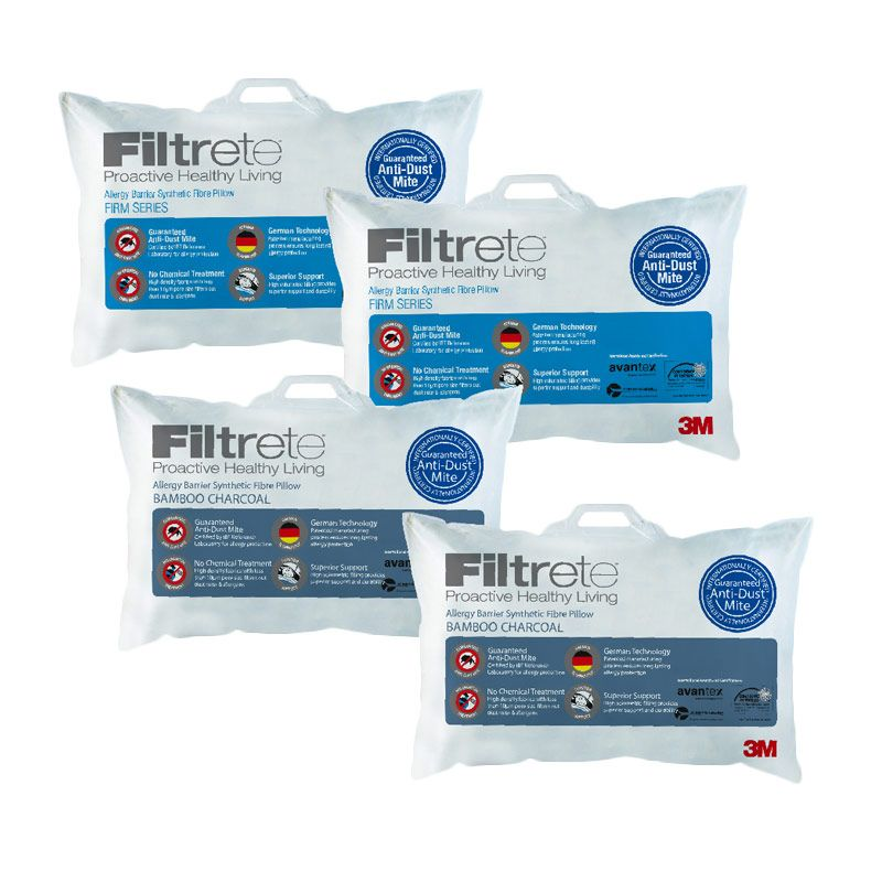 3M Bantal Anti Alergi 2 Comfort Firm & 2 Bamboo Charcoal (Paket 9)