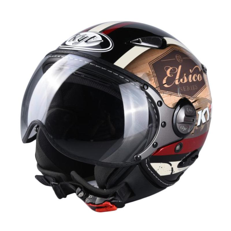 Jual KYT #4 Elsico Helm Half Face - Black Cream Online