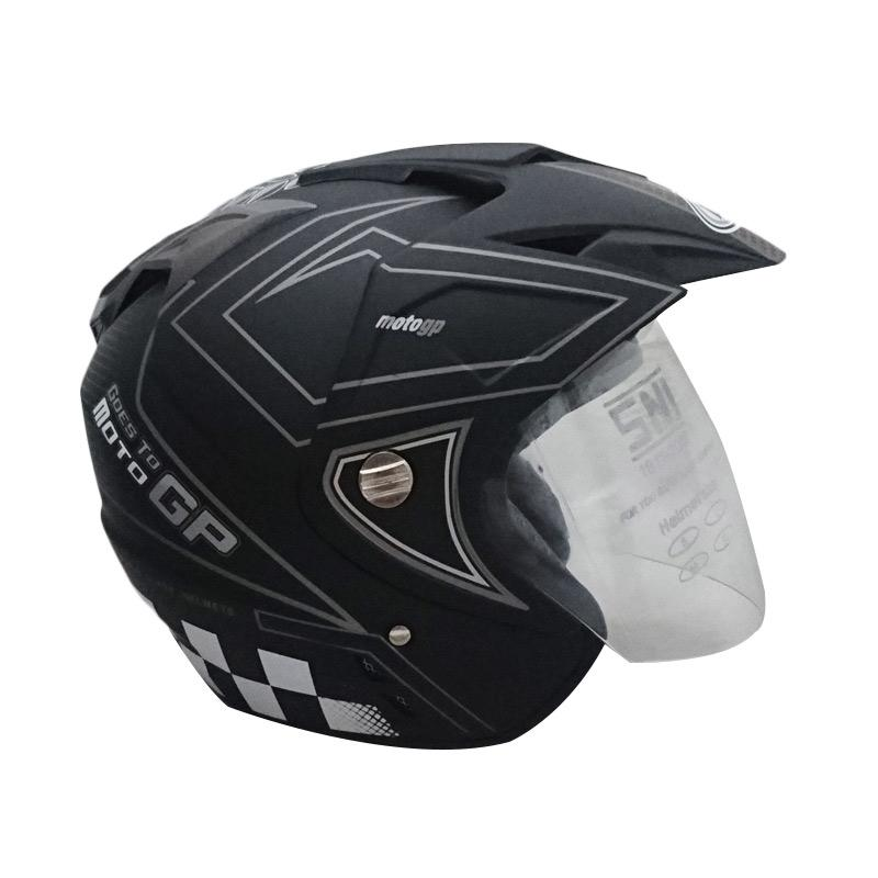 jual dmn 2 motogp b double visor helm half face doff abu. Black Bedroom Furniture Sets. Home Design Ideas
