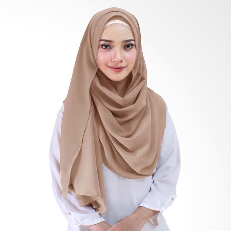 Hijab Syari Warna Coklat Susu - Voal Motif