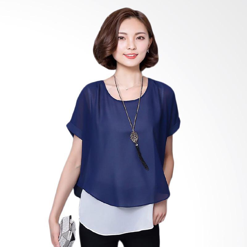 Jual Jfashion Korean Style Double Layer Blouse Ivanka Navy Online Harga Kualitas Terjamin