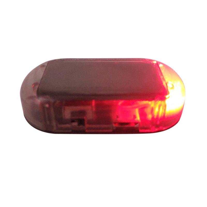 Car Solar Energy Powered LED Alarm Warning Light Anti-theft Flashing Red Lamp