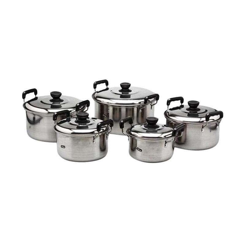 Jual damian 39 s kitchen america high pots 555 set panci for Daftar harga kitchen set stainless steel
