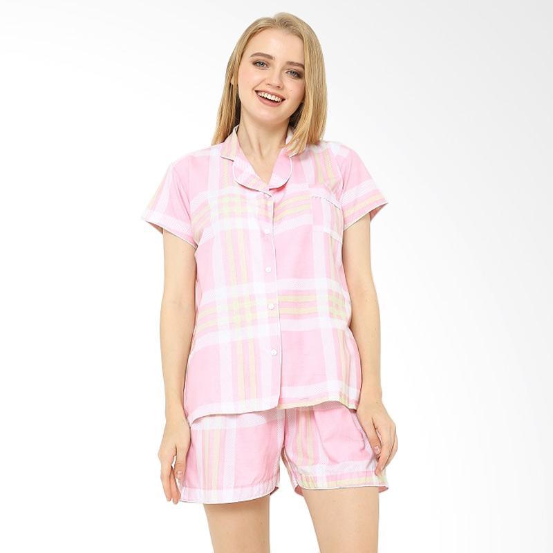 Jual Madeleine Piyama Checkered Short Baju Tidur Wanita