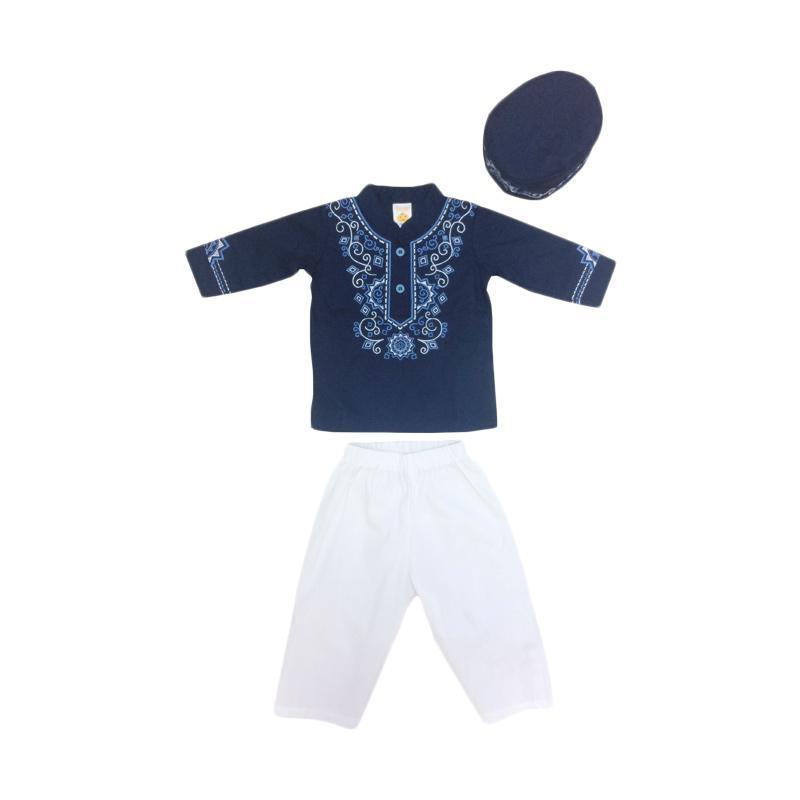 Jual Pleu Bordir Tengah Set Baju Koko Anak - Navy Online