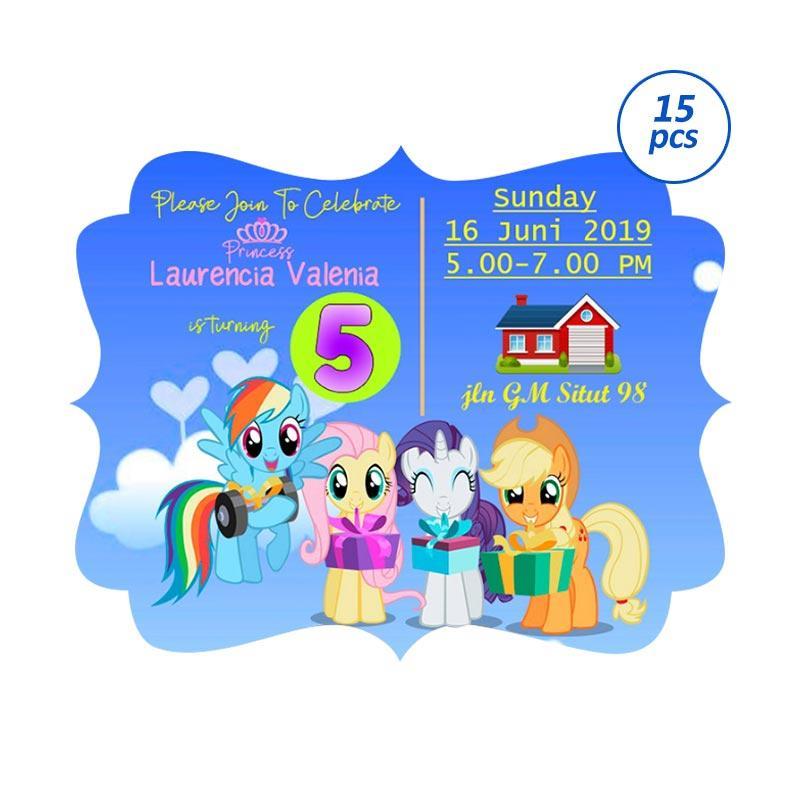 Creative Printing Tema Little Pony Undangan Ultah Anak 15 Pcs