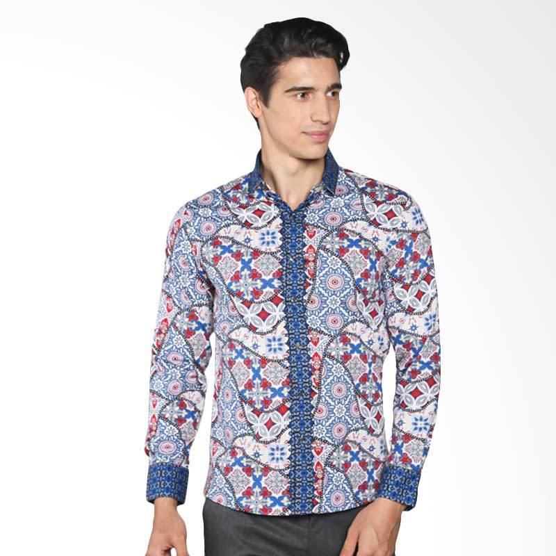 Batik Pria Casual: Jual Vm Slimfit Casual B 165 Kemeja Batik Pria Biru Muda