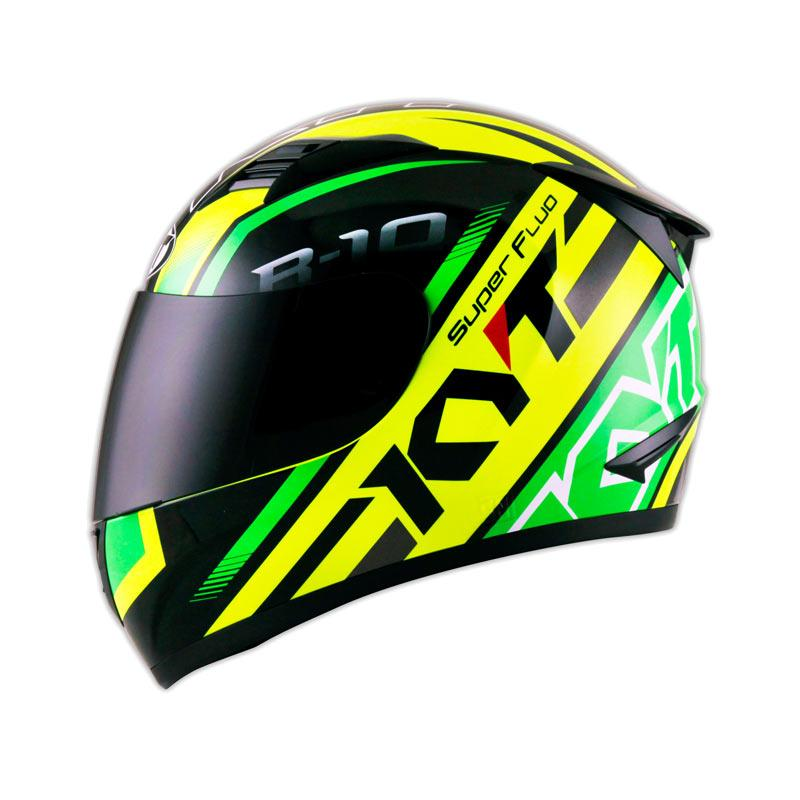 Jual KYT R 10 Super Fluo Helm Full Face Yellow Fluo Green