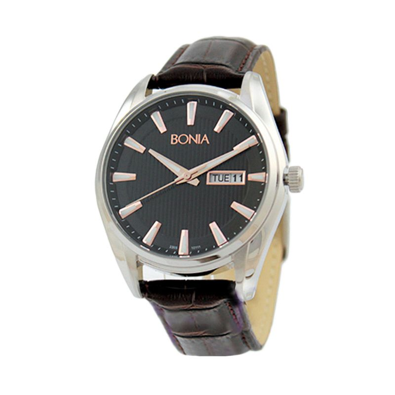 BONIA BN10111-1332 Brown Silver Jam Tangan Pria