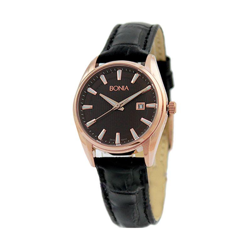 BONIA BN10111-2542 Black Rose Gold Jam Tangan Wanita
