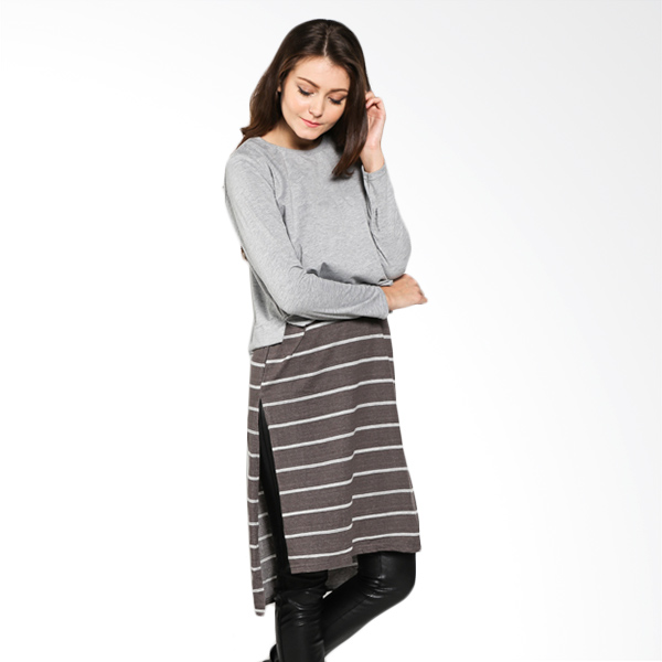 Carte Long Top Half Stripes Grey Atasan Wanita
