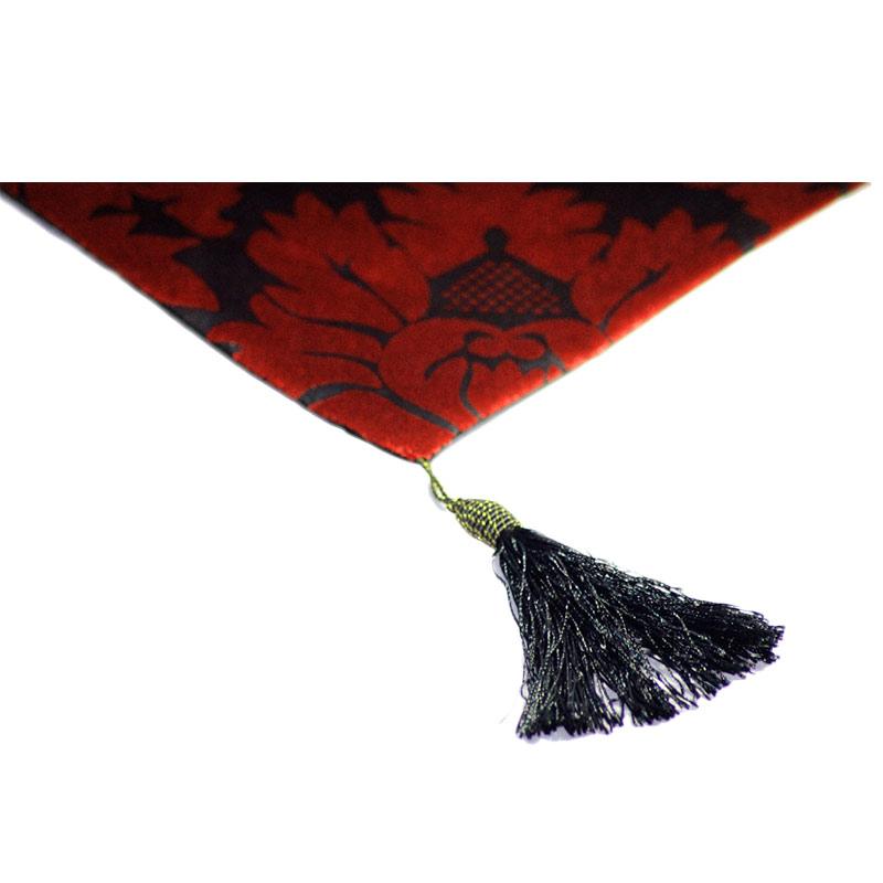 Tren-Dhome - Table Runner/Taplak Meja Bludru Flower - Merah [33 x