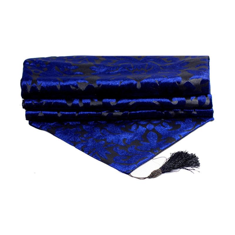 Tren-D-home Table Runner/Taplak Meja Bludru Flower - Biru [33 x 150 cm]