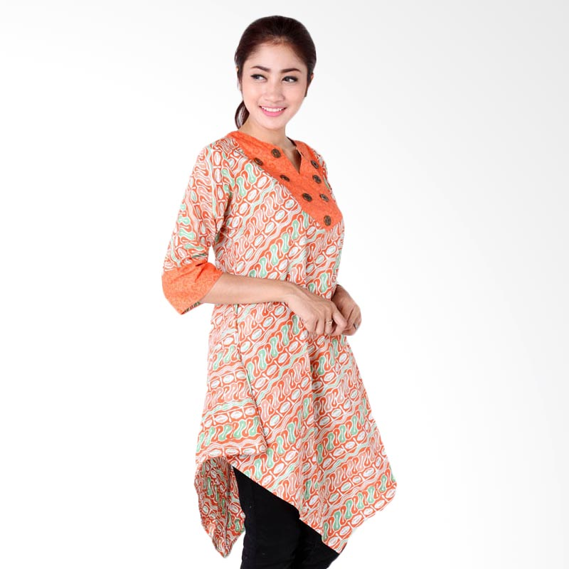 harga Batik Distro BA6457 Blus Wanita Embos Kancing Koin - Orange Blibli.com