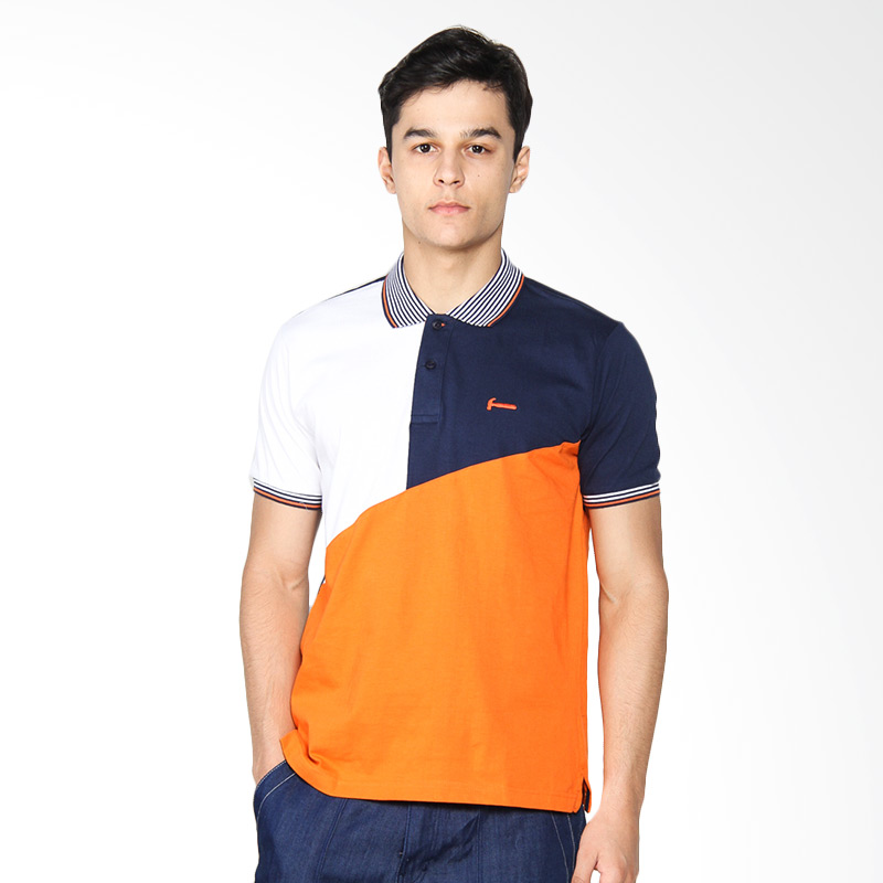Hammer Fashion M.Indigo Polo Shirt Pria - White Orange B1PF393W1
