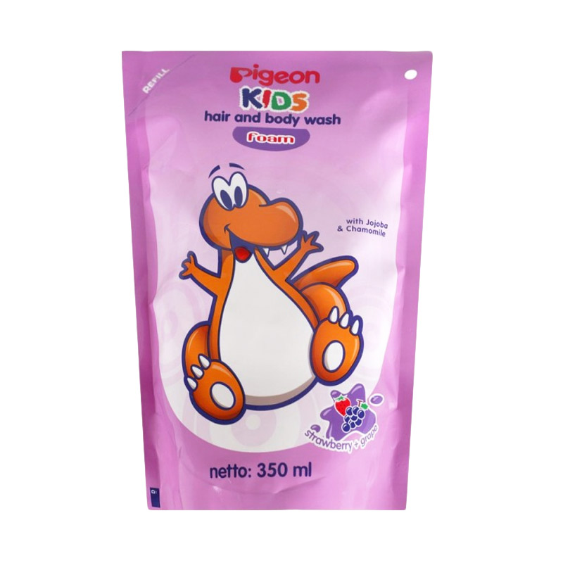 Pigeon Kids Hair & Body Wash Liquid Strawberry Grape Sabun Anak [350 mL]