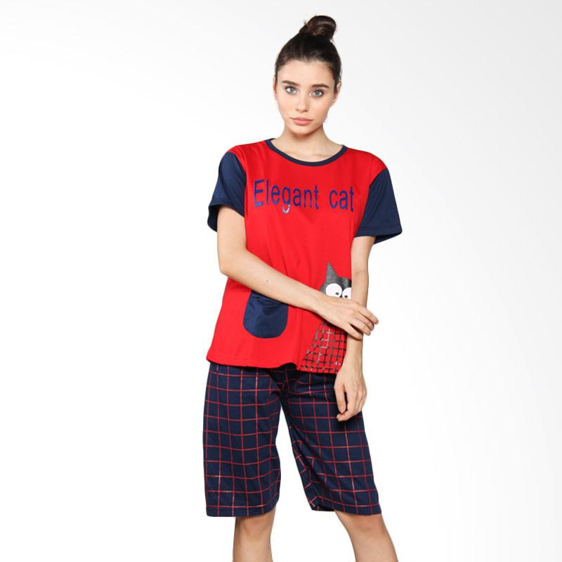 Aily 678 Celana Pendek Setelan Baju Tidur Wanita - Merah
