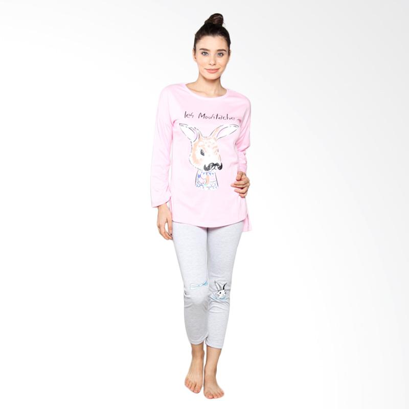 Aily S8 Setelan Baju Tidur Wanita Celana Panjang - Pink