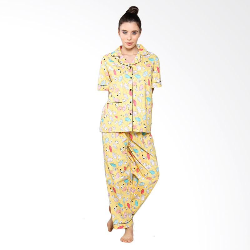 Jual Aily SL005 Setelan Baju Tidur Piyama Wanita Kuning