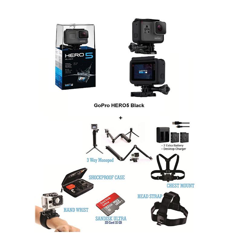 [Paket Adventure] GoPro HERO 5 Action Cam - Black [Extra Aksesoris HERO 5]