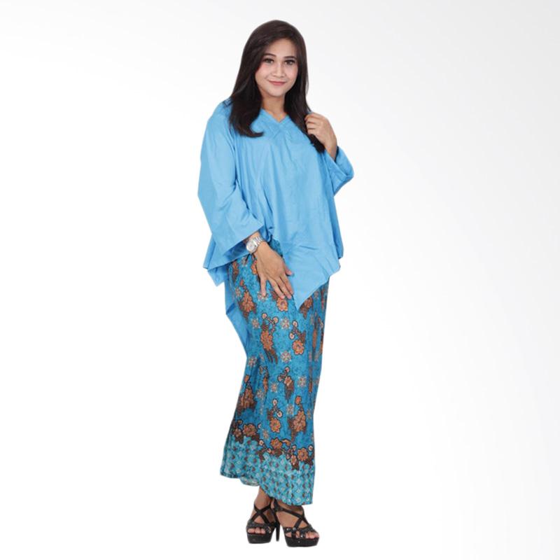 Batik Putri Ayu Solo D91 Dress Batik Setelan Atas Bawah Katun - Biru