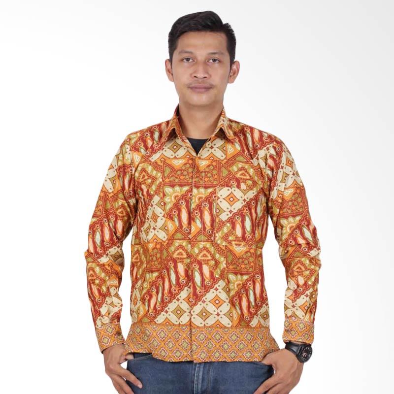 Batik Putri Ayu Solo Kemeja Batik Pria - Orange KPJ202