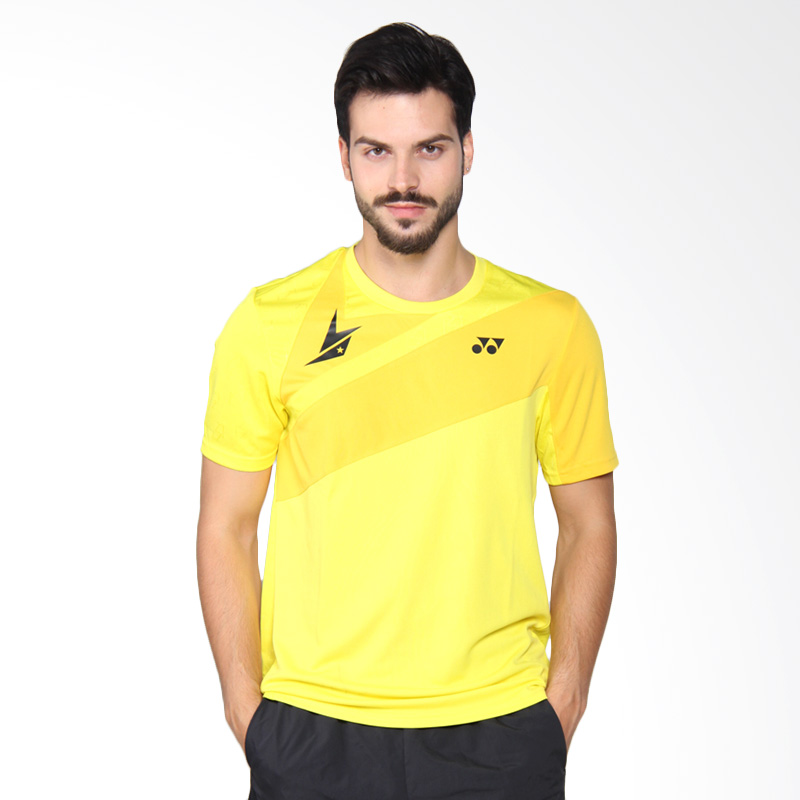 harga Yonex Lin Dan Men Round Neck T-Shirt Kaos Badminton - Blazing Yellow TRM10005LD2Z Blibli.com