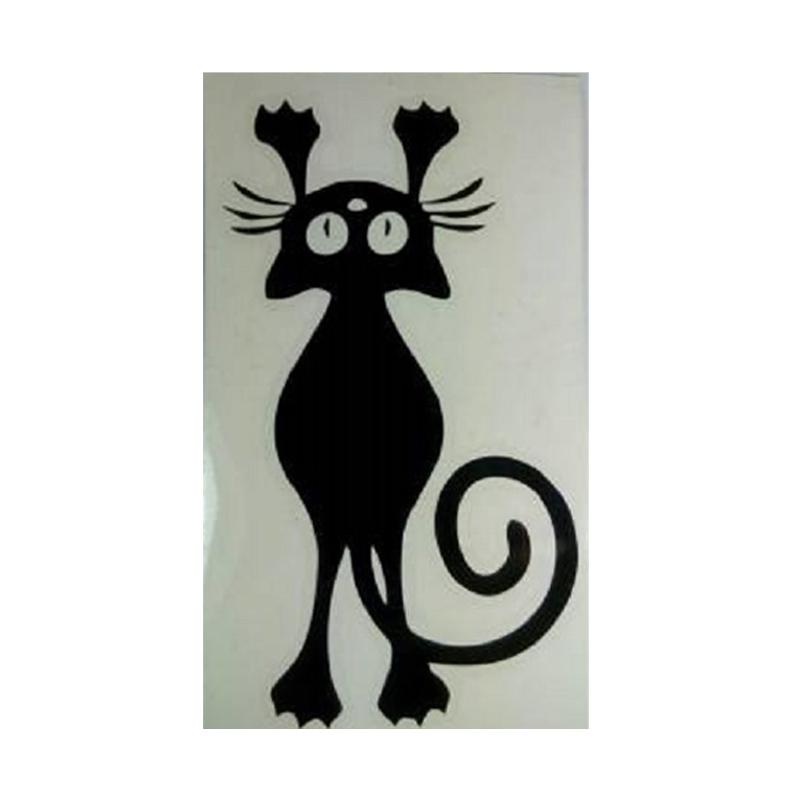 OEM Motif Kucing Gantung Decal Dekorasi Tombol Lampu Saklar Wall Sticker - Hitam