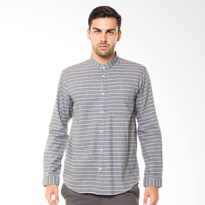 Tendencies Collar Less Stripes Kemeja Panjang - Grey