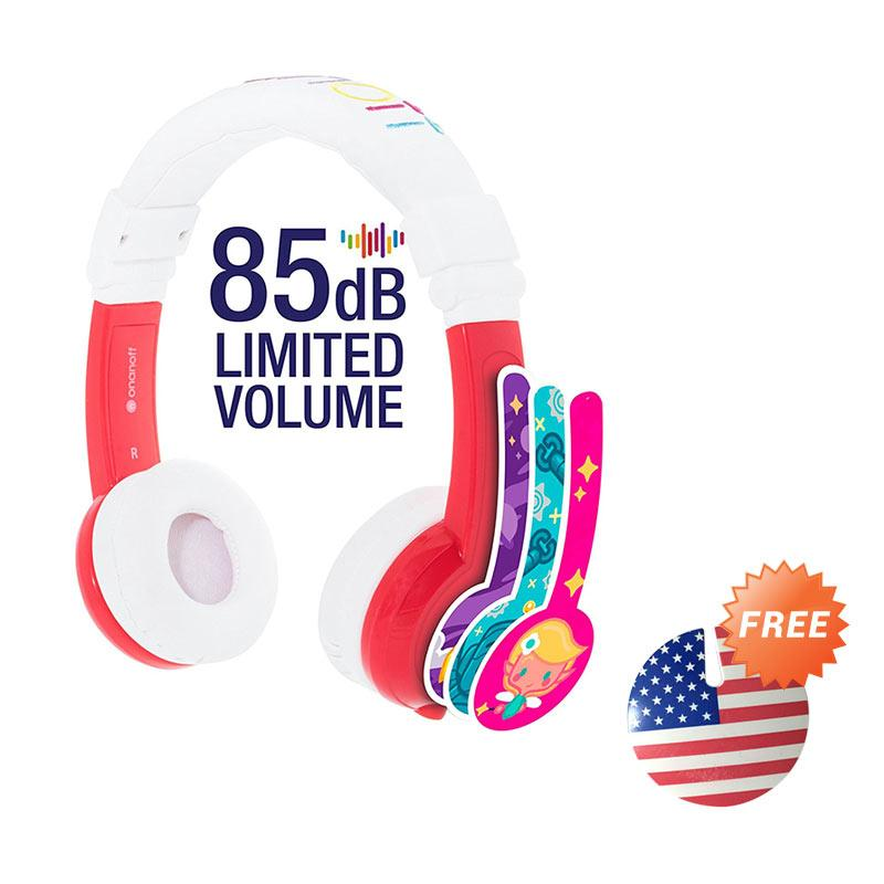 Bundling Buddyphones Explore Foldable Headphone - Red + Cable Management USA Flag
