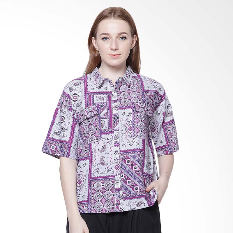 Days by Danarhadi Women Kotak Asimetris Crop Shirt - Dark Purple