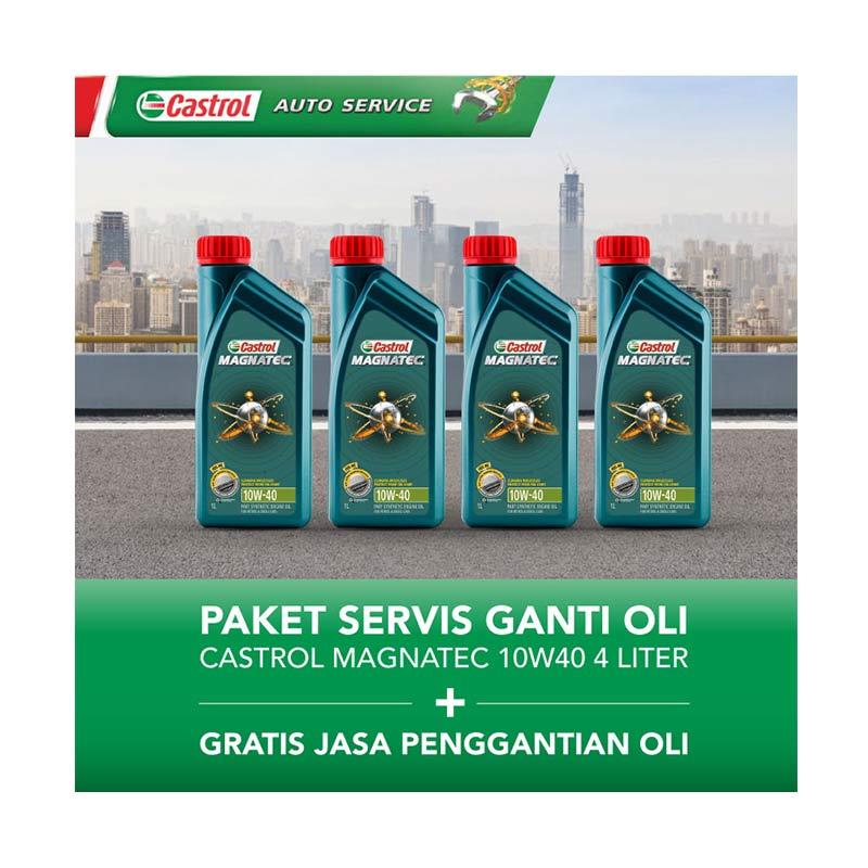 Paket Servis Ganti Oli - Castrol Magnatec 10w40 4 Liter + Gratis Jasa Penggantian Oli