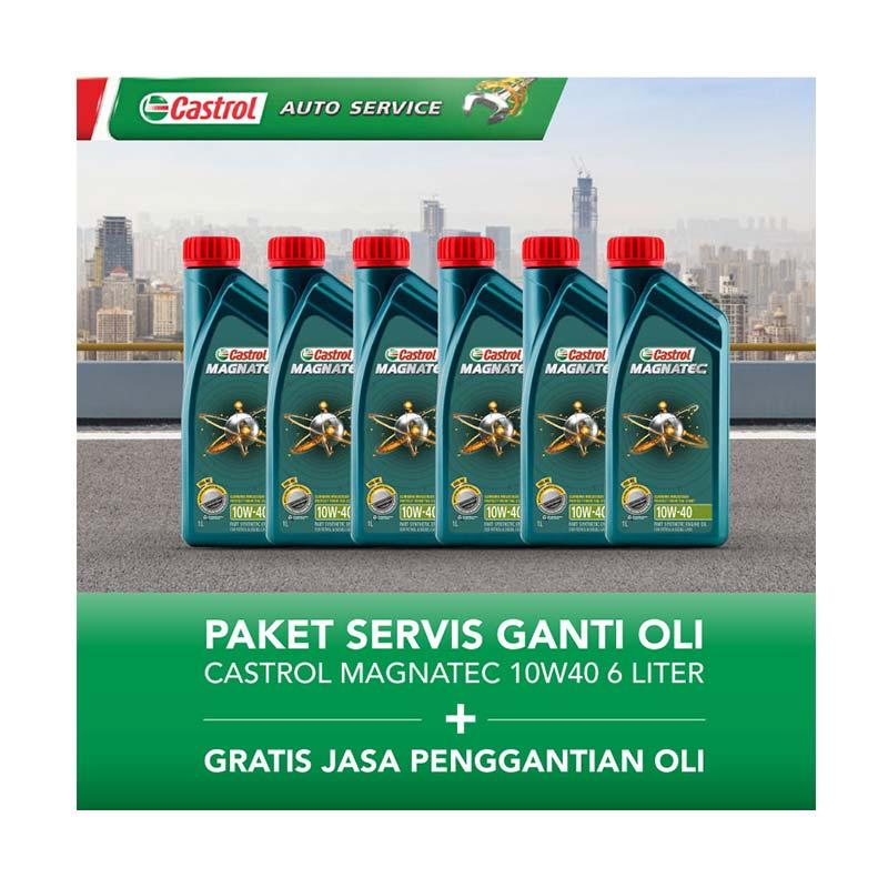 Paket Servis Ganti Oli - Castrol Magnatec 10W 40 Oli Pelumas [6 L/Gratis Jasa Penggantian Oli]