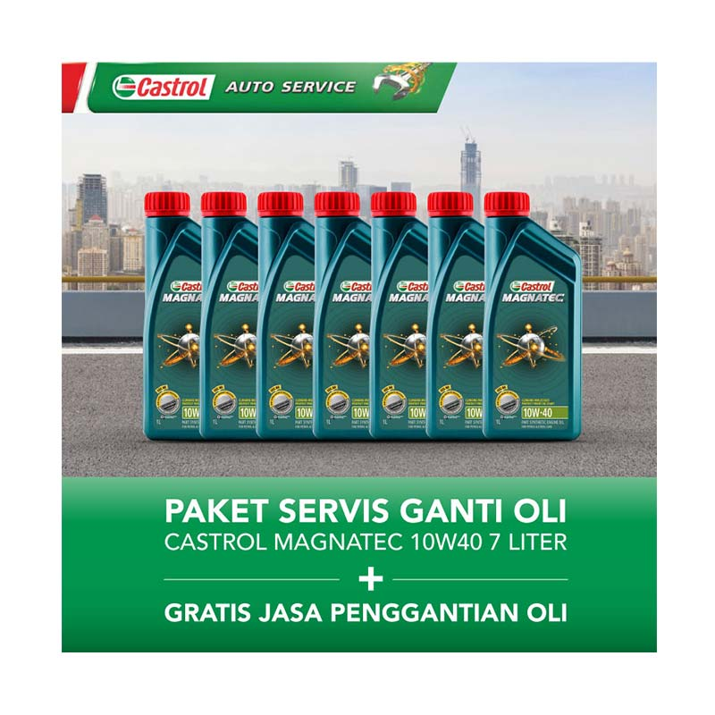 Castrol Magnatec 10w40 Paket Servis Ganti Oli [7 Liter/Gratis Jasa Penggantian Oli]