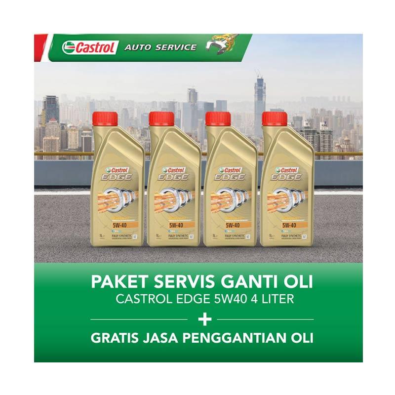 Castrol EDGE 5w40 Paket Servis Ganti Oli [4 Liter/Gratis Jasa Penggantian Oli]