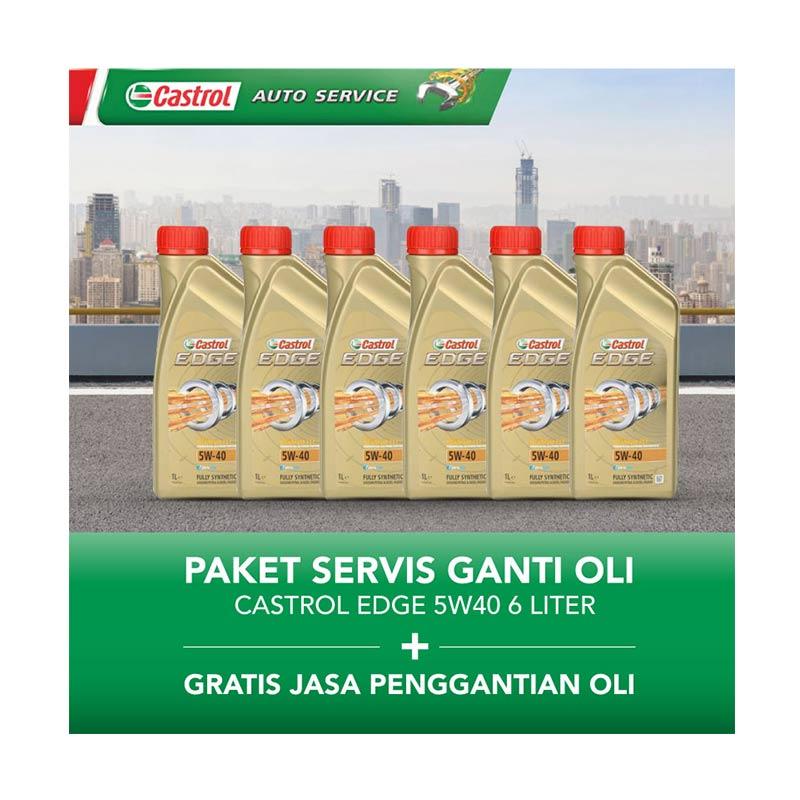 Castrol EDGE 5w40 Paket Servis Ganti Oli [6 Liter/Gratis Jasa Penggantian Oli]