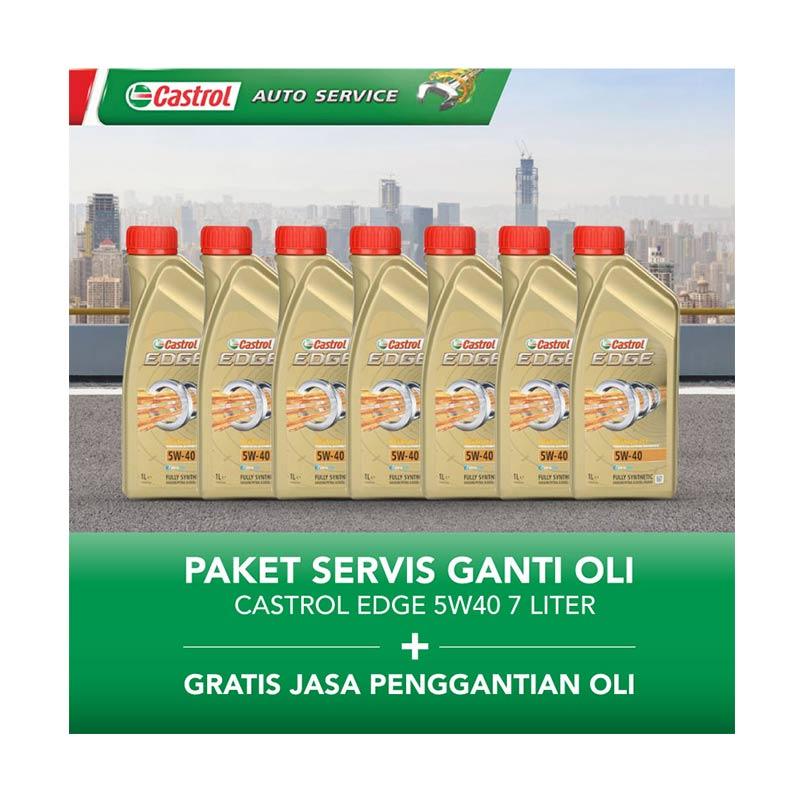 Castrol EDGE 5w40 Paket Servis Ganti Oli  [7 Liter/Gratis Jasa Penggantian Oli]