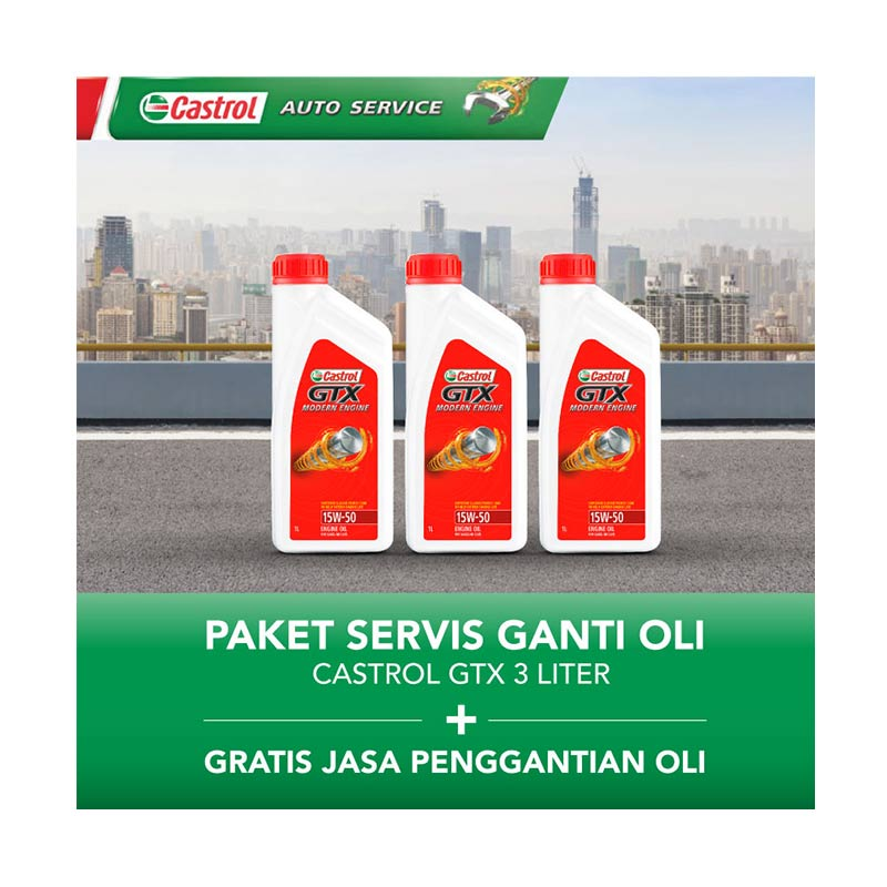 Paket Servis Ganti Oli - Castrol GTX 3 Liter + Gratis Jasa Penggantian Oli