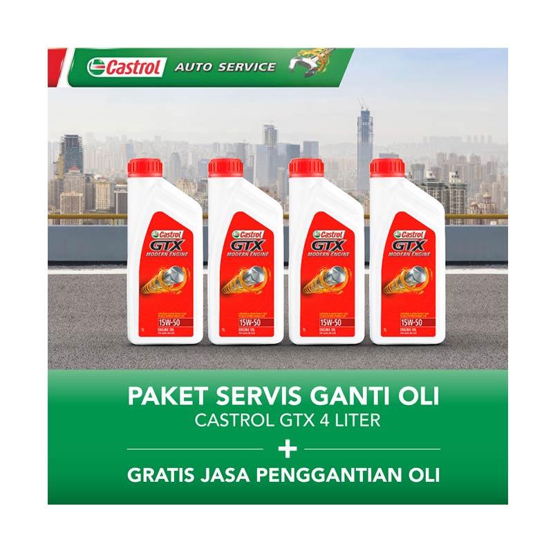 Castrol GTX Paket Servis Ganti Oli [4 Liter/Gratis Jasa Penggantian Oli]